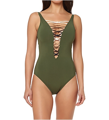 Bleu Rod Beattie Oh So Knotty Lace Down Mio One Piece Swimsuit