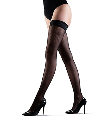 Bluebella Hold Ups Fishnet Leg/Plain Top Black
