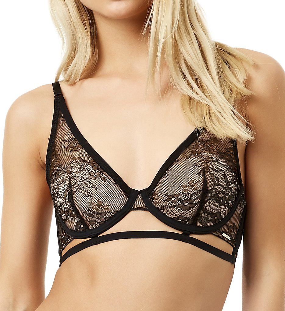 Bluebella >> Bluebella 40275 Luisa Lace High-Apex Bra (Black/Rose Dust 32C)