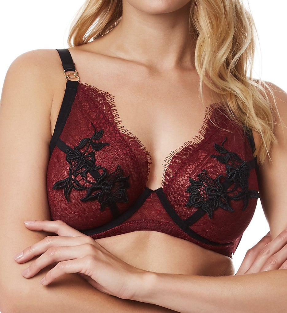 Bluebella >> Bluebella 40776 Aviana More Full Cup Lace Bra (Cordovan/Black 32DD)