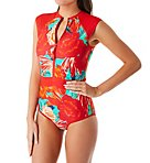 Allure Stand Up Zip Front One Piece Swimsuit