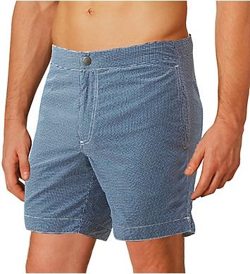 983cde4026 Boto Aruba Tailored Fit Microcheck 6.5 Inch Swim Trunk 31413 - Boto ...