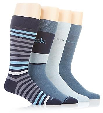 Calvin Klein Multi Stripe Dress Crew Socks - 4 Pack