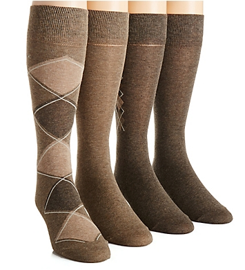 Calvin Klein Argyle Crew Dress Socks - 4 Pack