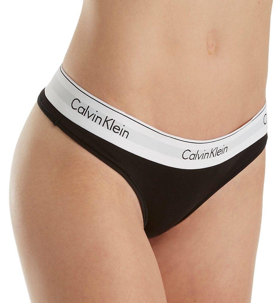 Calvin Klein >> Calvin Klein F3786 Modern Cotton Thong (Black S)