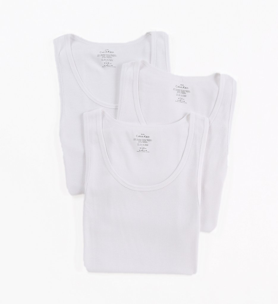b711ee67aef694 Calvin Klein NM9070 Cotton Classic Ribbed Tank Top - 3 Pack (White)