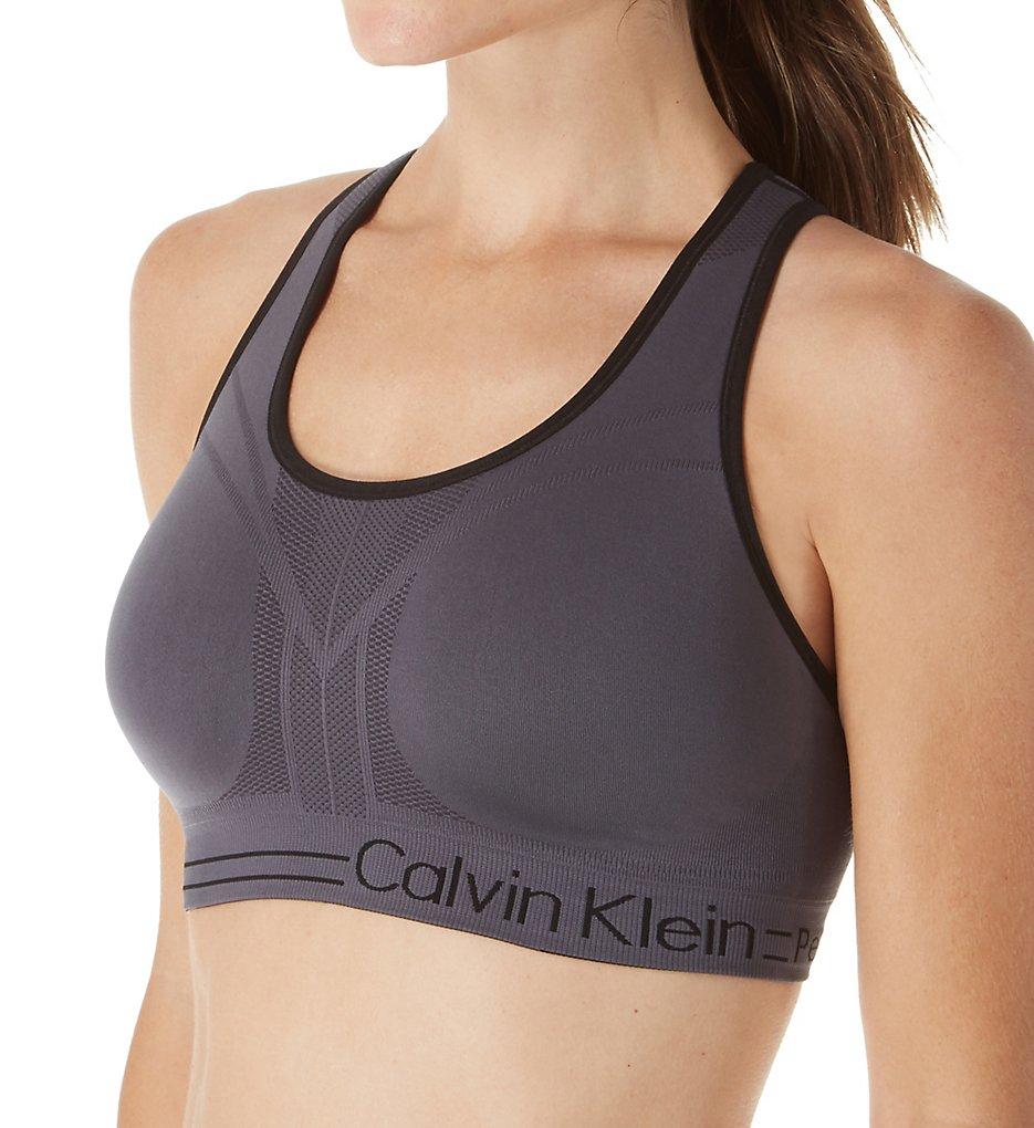 Calvin Klein : Calvin Klein PF6T105 Medium Impact Reversible Sports Bra (Charcoal S)