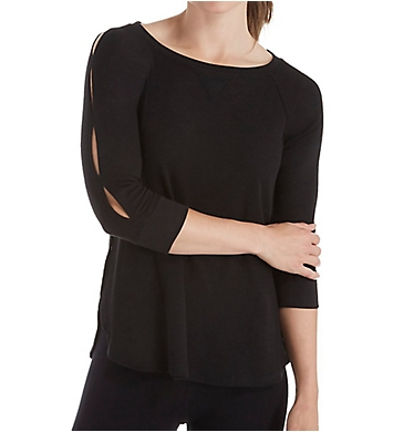 Calvin Klein Keyhole Sleeve Curved Hem Pullover Top
