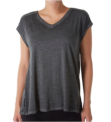 Calvin Klein Short Sleeve V-Neck Gathered Back Tee