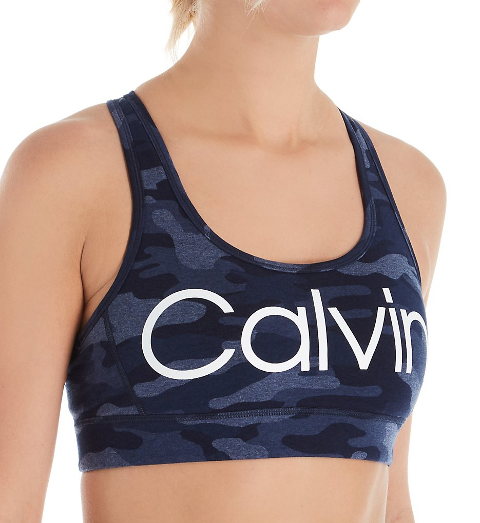 Calvin Klein - Calvin Klein PF9T130 Camo Print Racerback Sports Bra (Denim Combo L)