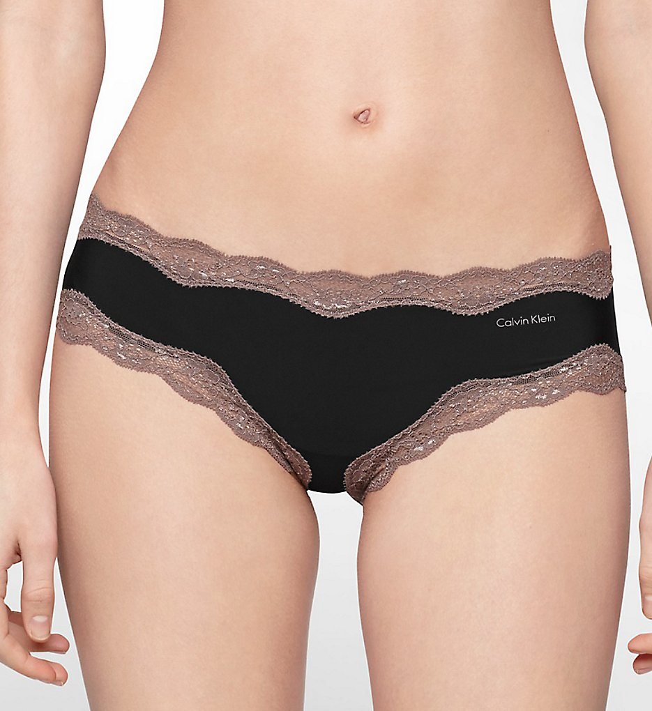 Calvin Klein : Calvin Klein QD3538 Microfiber Cheeky Hipster Panty with Lace (Black S)