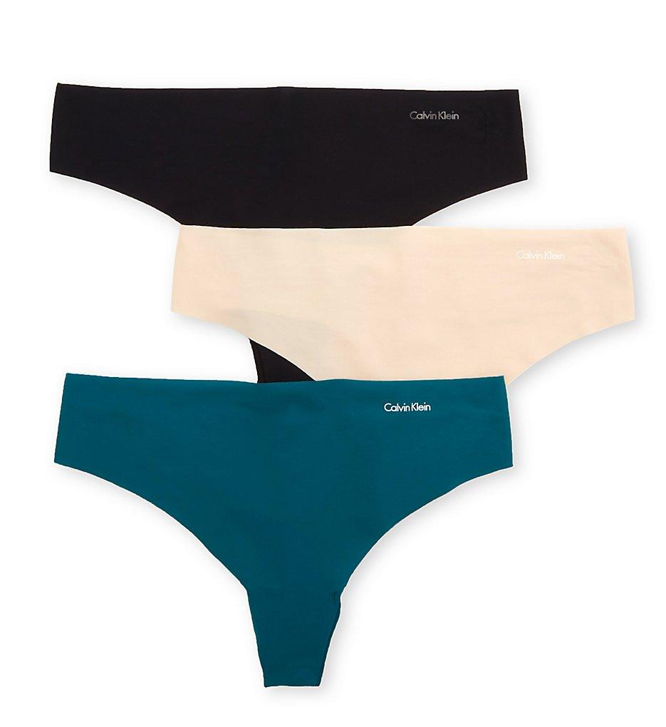 Calvin Klein - Calvin Klein QD3558 Invisibles Thong - 3 Pack (Topaz/Beige/Black XS)