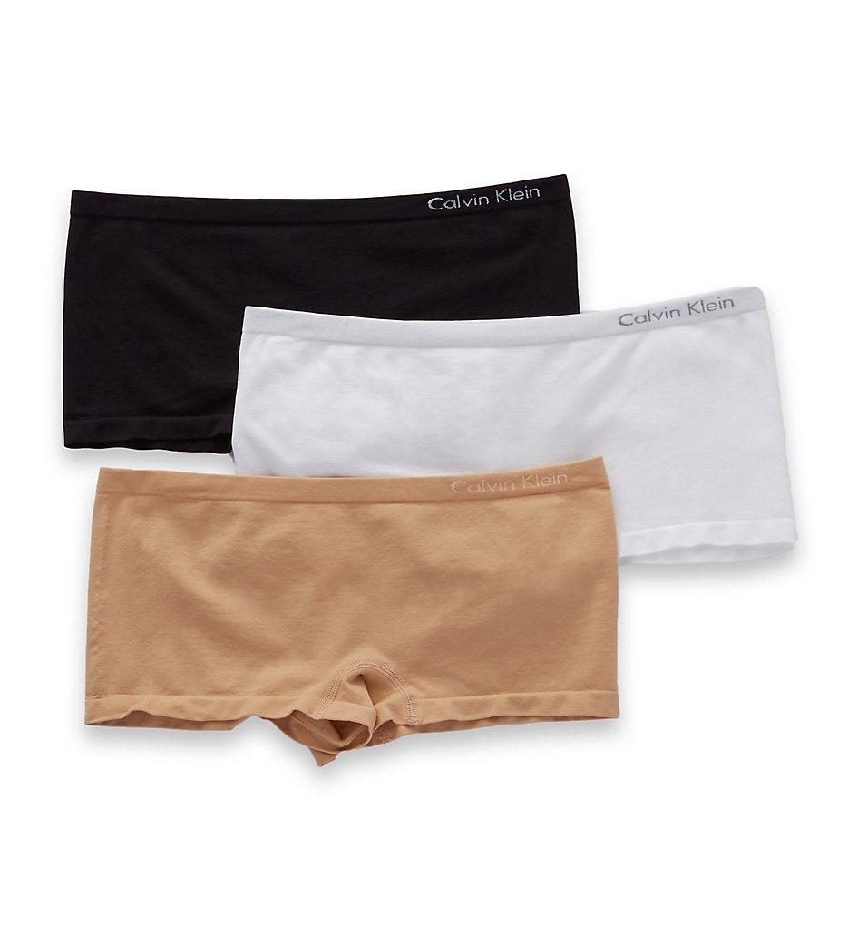 Calvin Klein - Calvin Klein QD3565 Pure Seamless Boyshort Panty - 3 Pack (Bare/Black/White S)