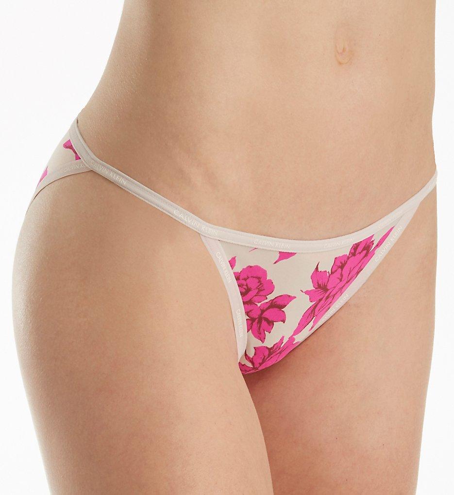 Calvin Klein - Calvin Klein QF1682 Sheer Marquisette String Bikini Panty (Darling Roses S)