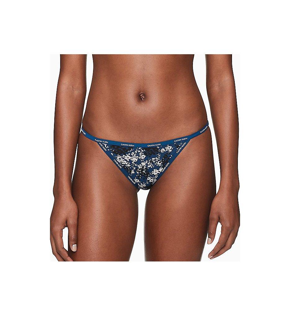 Calvin Klein - Calvin Klein QF1682 Sheer Marquisette String Bikini Panty (SimpleFloral/LyriaBlue M)