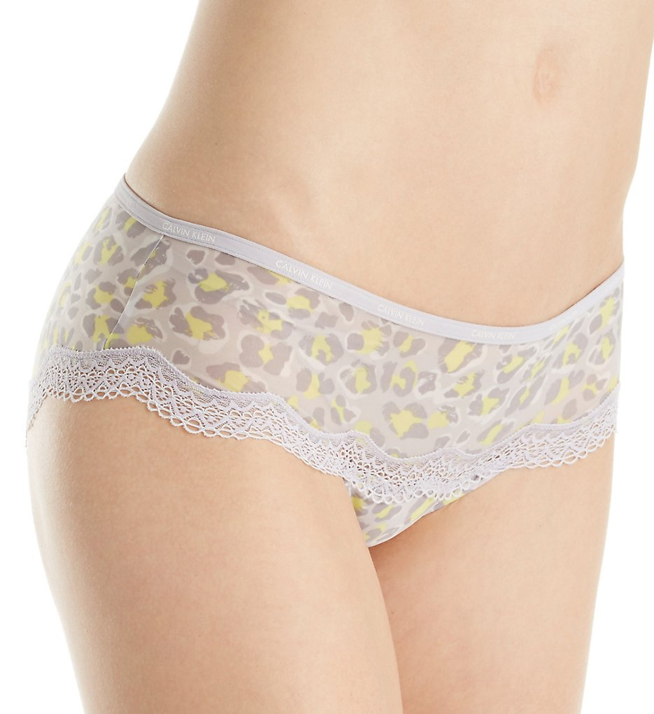 Calvin Klein : Calvin Klein QF1691 Sheer Marquisette with Lace Hipster Panty (Dynamical Leopard S)