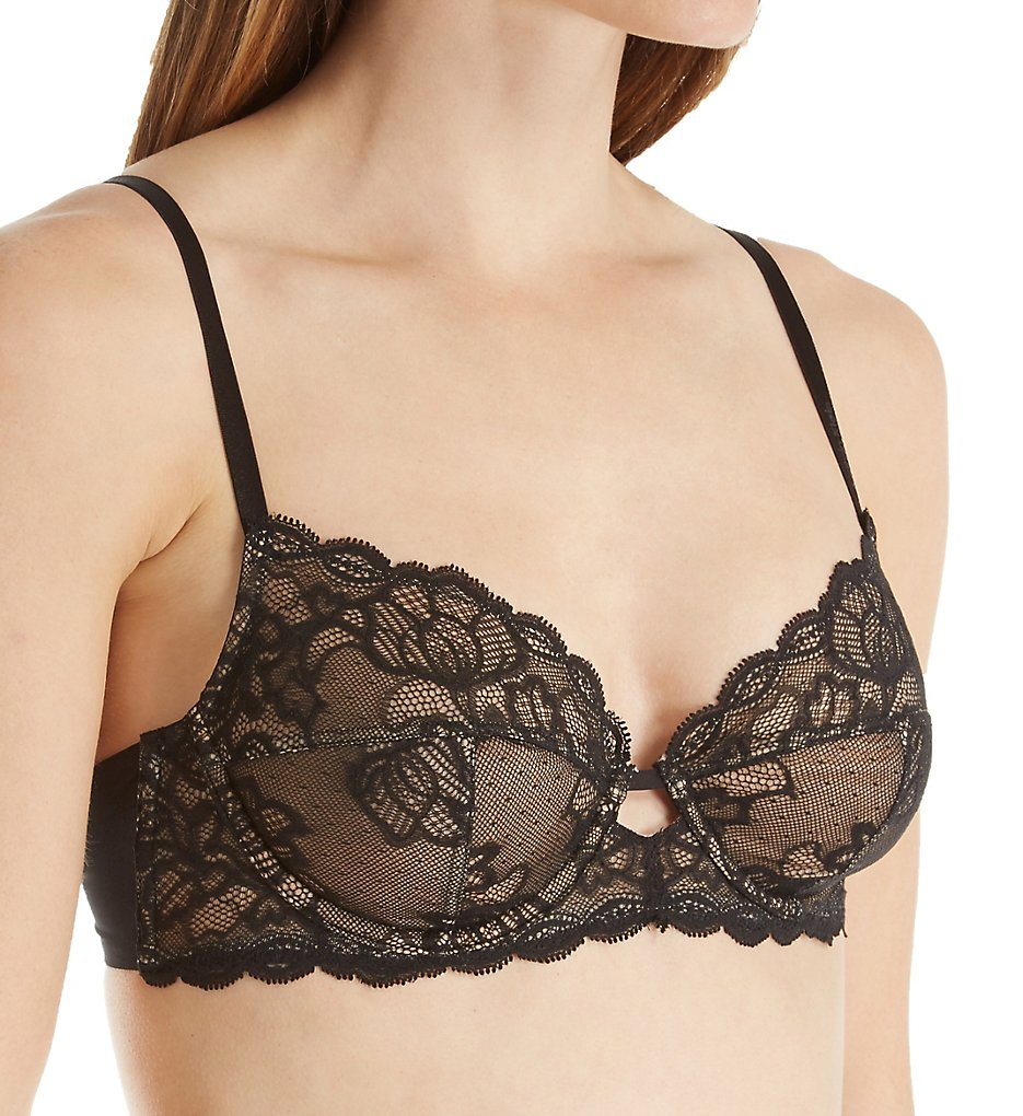 Calvin Klein >> Calvin Klein QF1741 Seductive Comfort with Lace Multi Part Cup Bra (Black 34B)