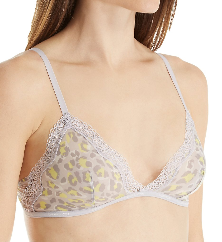 280ca2ed4db78 Calvin Klein QF1842 Sheer Marquisette with Lace Unlined Triangle Bra  (Dynamical Leopard S)