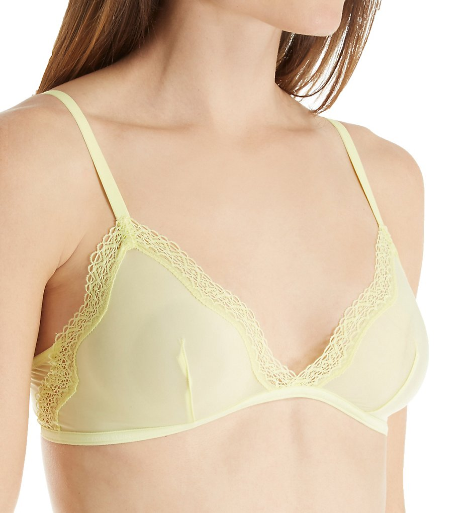 Calvin Klein : Calvin Klein QF1842 Sheer Marquisette with Lace Unlined Triangle Bra (Pale Dawn S)