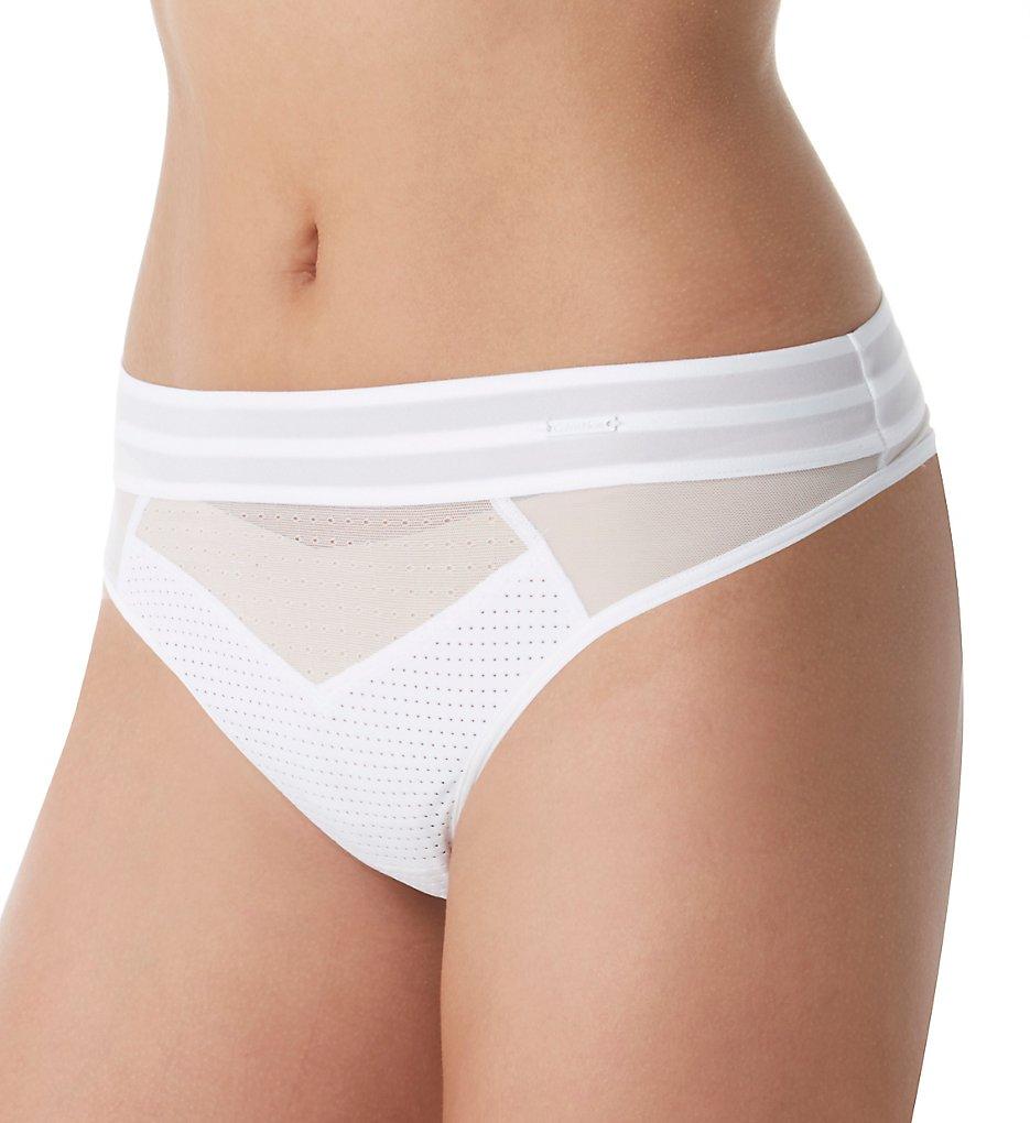 Calvin Klein - Calvin Klein QF4496 Mixed Mesh Thong (White S)