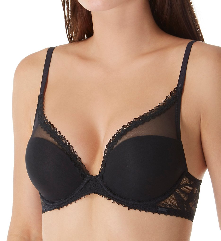 Calvin Klein : Calvin Klein QF4828 Perfectly Fit Perennial Lightly Lined Plunge Bra (Black 36A)