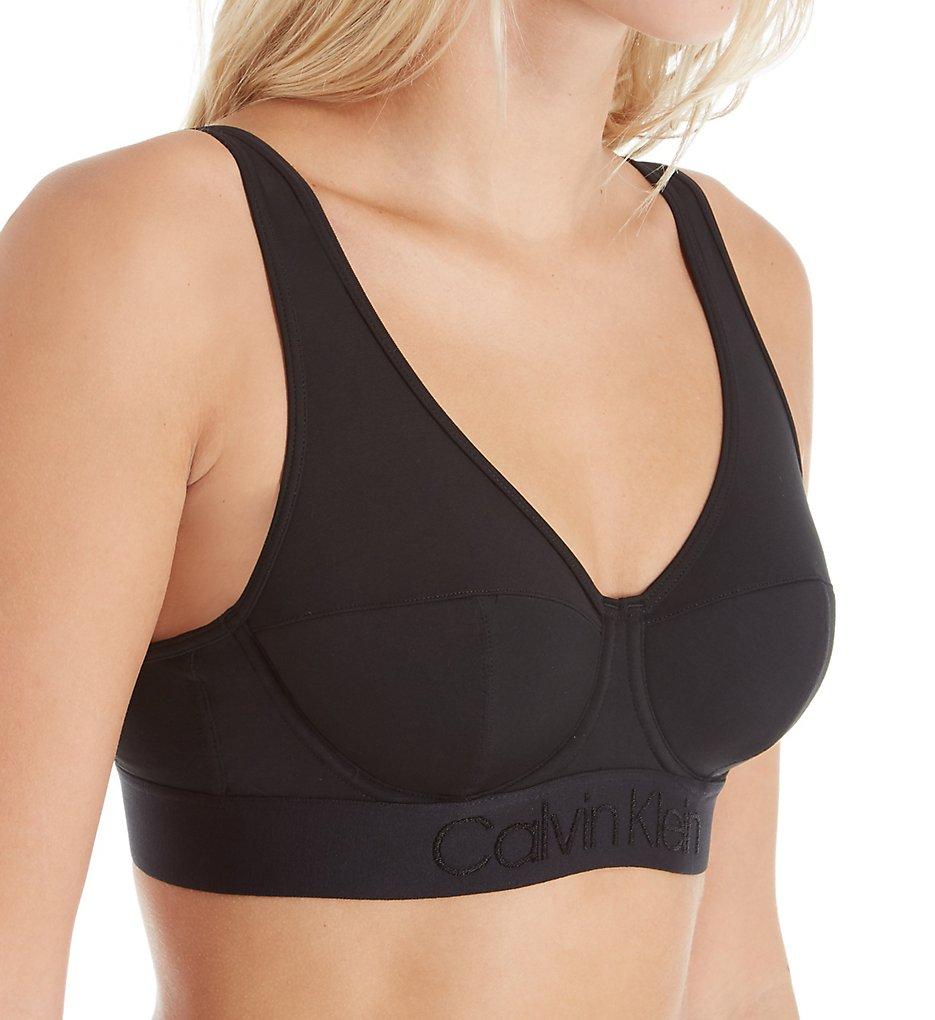 Calvin Klein - Calvin Klein QF4947 Tonal Logo Lightly Lined Bralette (Black 34B)