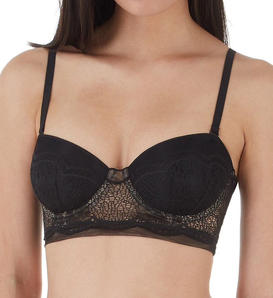 Calvin Klein : Calvin Klein QF4970 CK Crackled Lace Lightly Lined Strapless Bra (Black 32A)