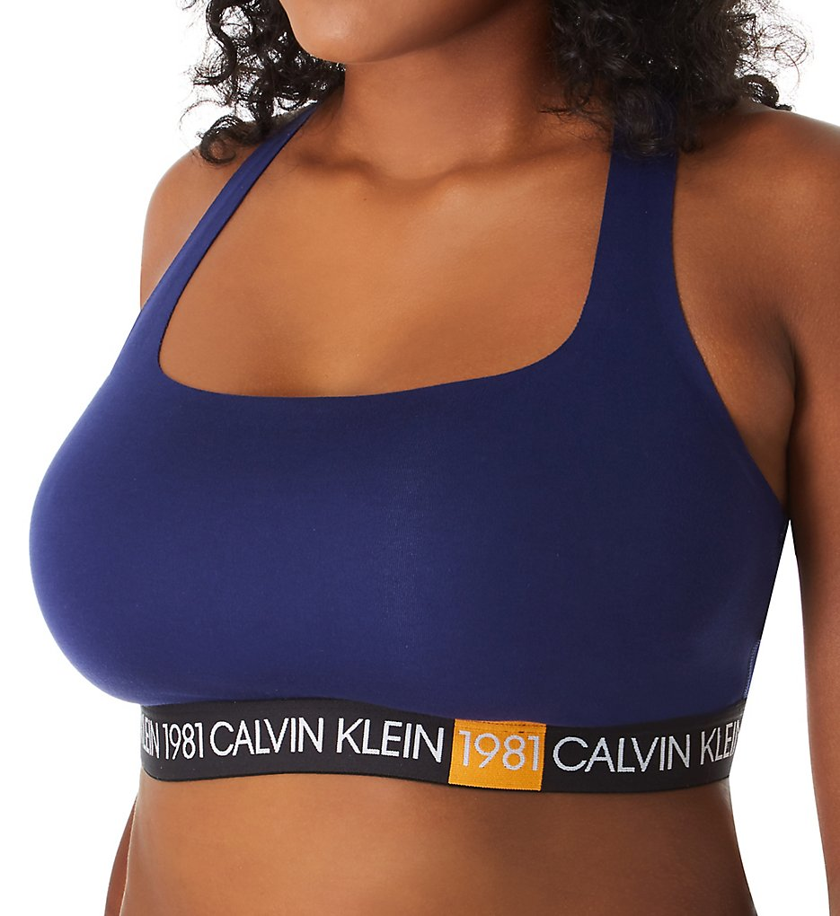 Calvin Klein - Calvin Klein QF5651 1981 Bold Cotton Plus Size Unlined Bralette (Purple Night 2X)