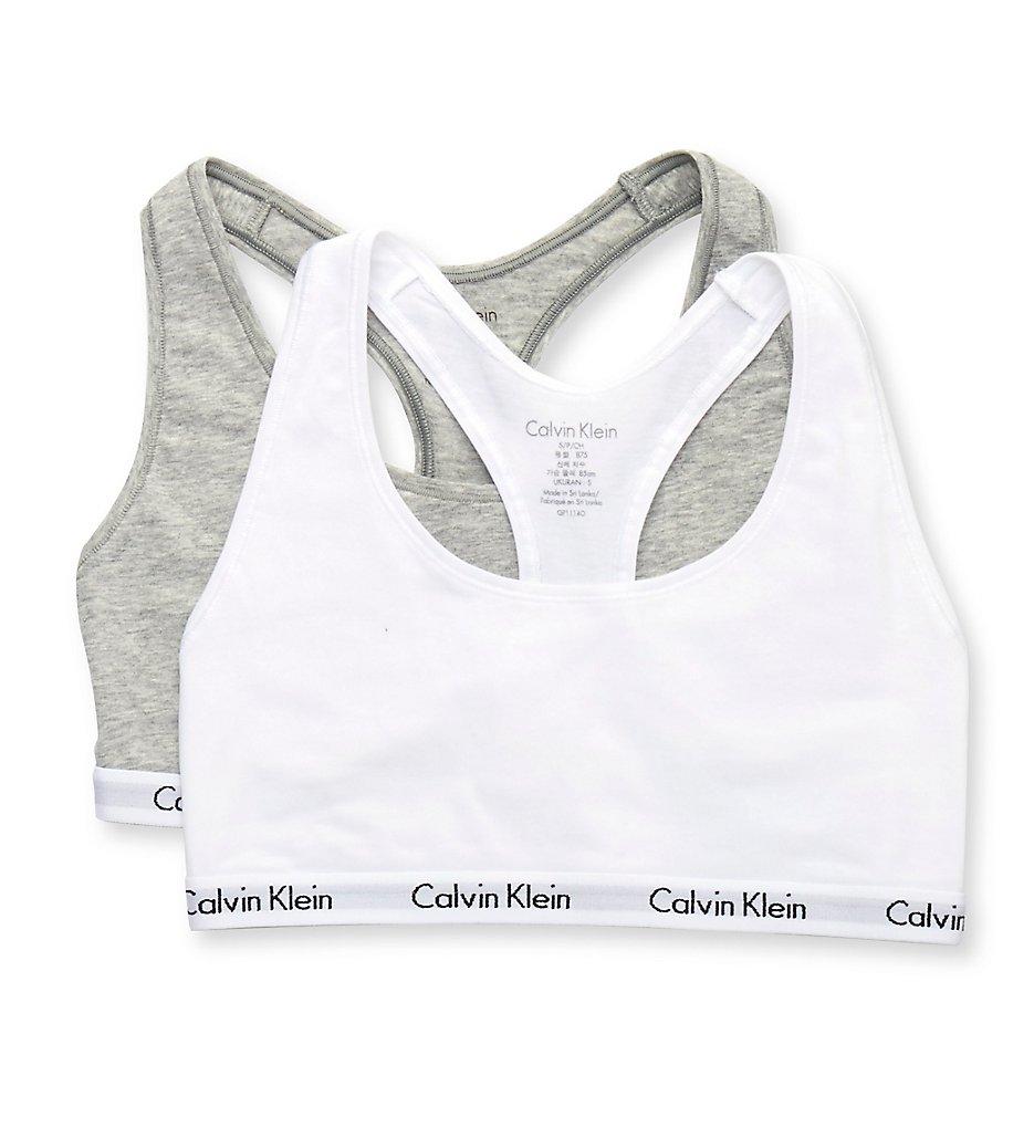 Calvin Klein - Calvin Klein QP1114O Carousel Bralette - 2 Pack (Grey Heather/White S)