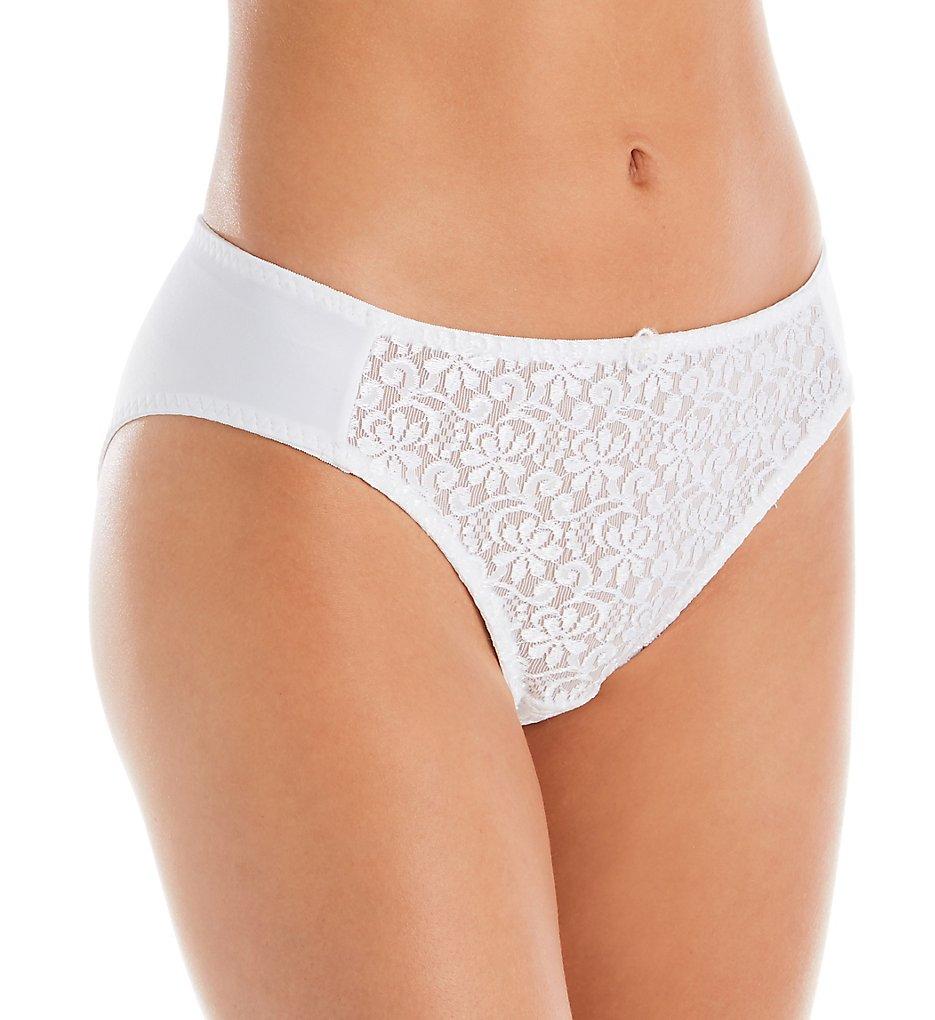 Carnival 3137 Tuxedo Lace Microfiber Low Rise Bikini Panty (White XL)