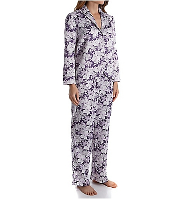 Carole Hochman Blooming Brushed Back Satin Long Pajama Set