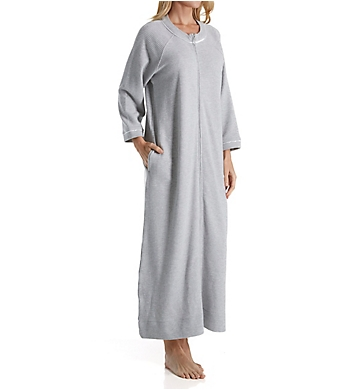 Carole Hochman Waffle Knit Long Zip Robe