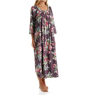 Carole Hochman Holiday Bouquet Flannel Long Sleeve Long Gown