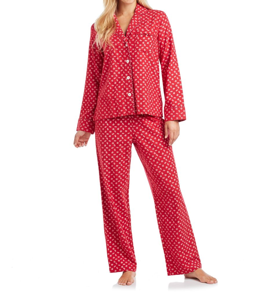 Carole Hochman Holiday Bouquet Flannel Pajama Set