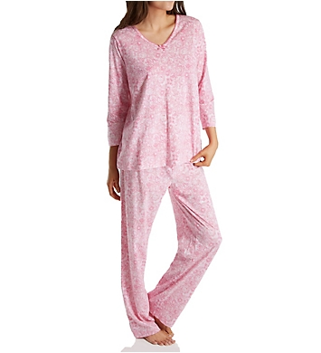 Carole Hochman Knit 3/4 Sleeve Long Pant PJ Set