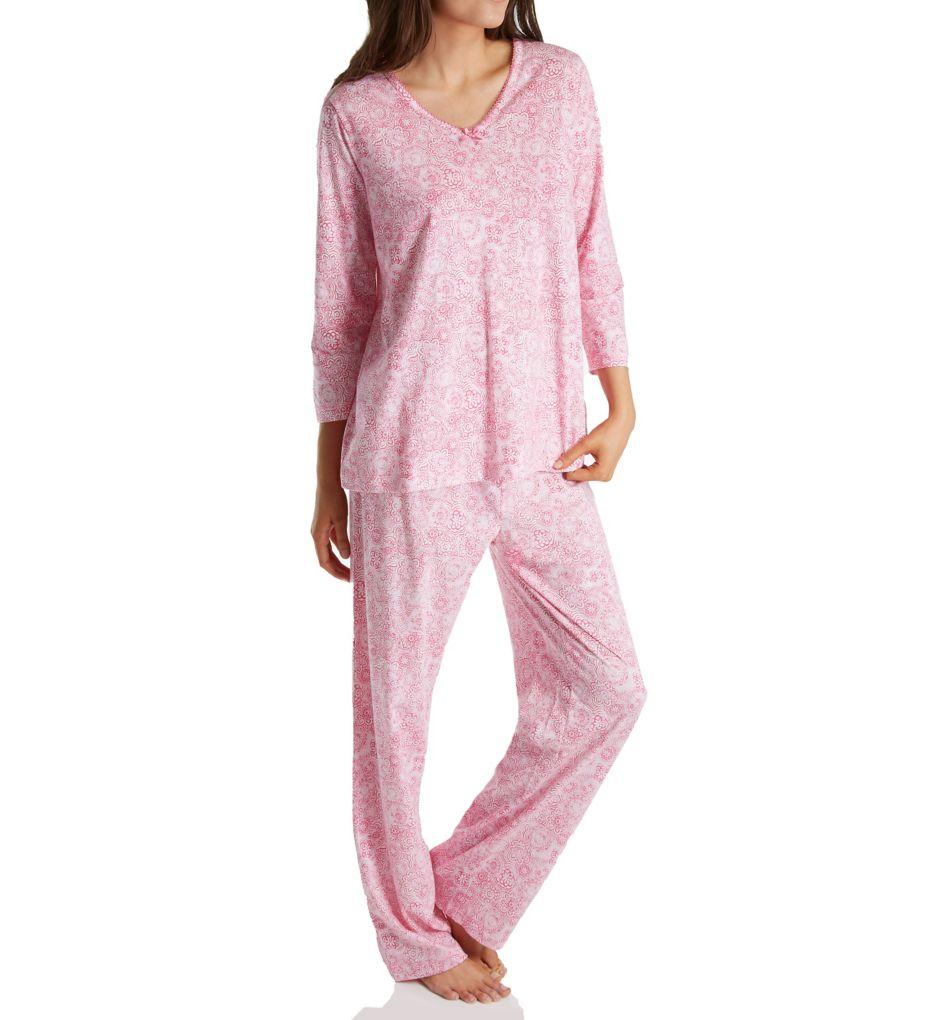 Carole Hochman Knit 3/4 Sleeve Long Pant PJ Set