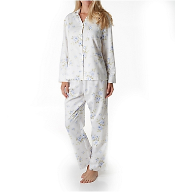 Carole Hochman Cascading Floral Brushed Back Satin Long PJ Set
