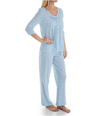 Carole Hochman Aqua Floral Cotton 3/4 Sleeve Long PJ Set