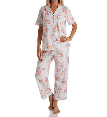 Carole Hochman Watercolor Buds Crop PJ Set