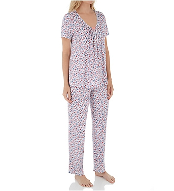 Carole Hochman Blue Day Short Sleeve Long Pant PJ Set