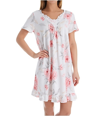 Carole Hochman Blossom Short Sleeve Cotton Short Gown