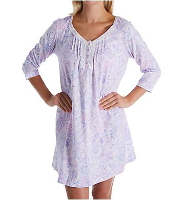 Carole Hochman Lilac 3/4 Sleeve Cotton Short Gown