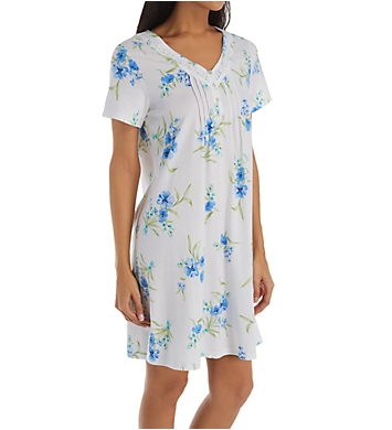Carole Hochman Aqua Floral Cotton Short Sleeve Short Gown