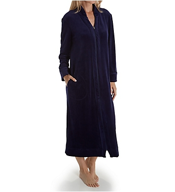 Carole Hochman Blooming Plush Luxe Velour Long Zip Robe