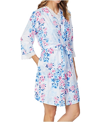Carole Hochman Watercolor Floral Short Wrap Robe and Gown Set