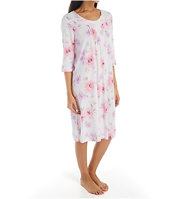 Carole Hochman Lilac Floral Cotton Waltz Gown With 3/4 Sleeve