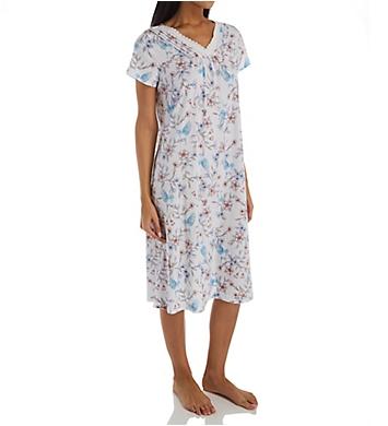 Carole Hochman Watercolor Floral Cotton Short Sleeve Long Gown