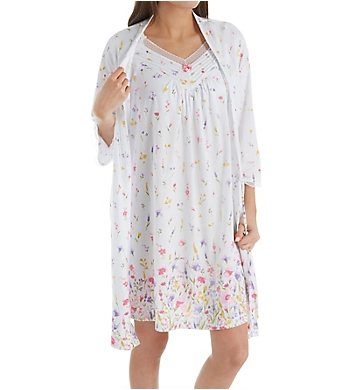 Carole Hochman Meadow Flower Robe and Chemise Travel Set