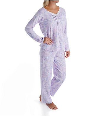Carole Hochman Lilac Long Sleeve & Long Pant Cotton PJ Set