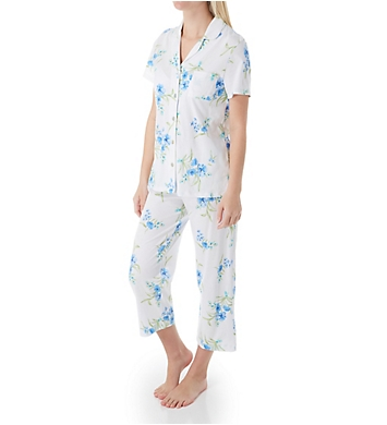 Carole Hochman Aqua Floral Cotton Short Sleeve Capri PJ Set